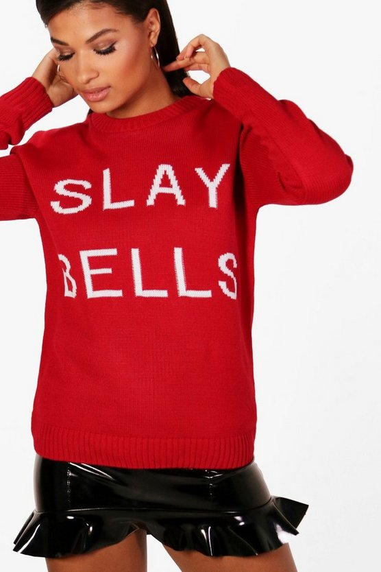 Sarah Christmas Slay Bells Slogan Jumper