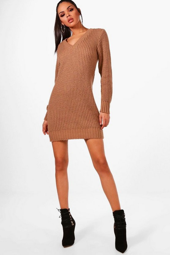 V Neck Soft Knit Jumper Dress