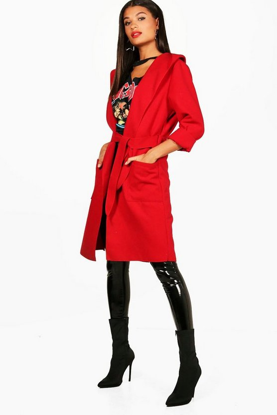 Edna Hooded Belted Coat