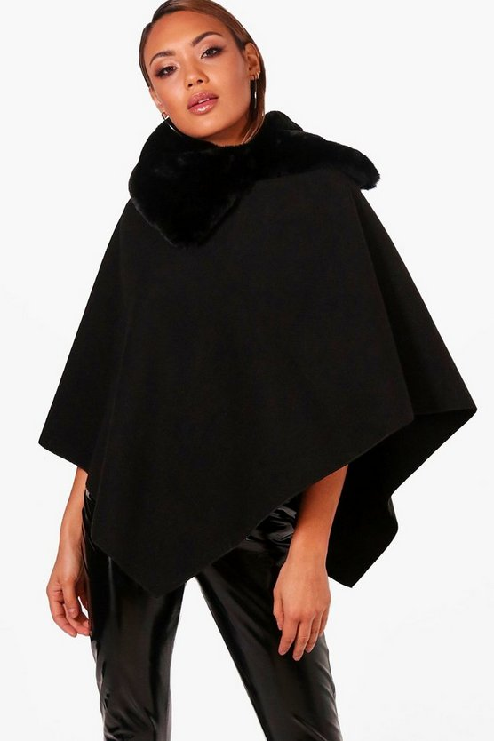 Cora Faux Fur Collar Cape