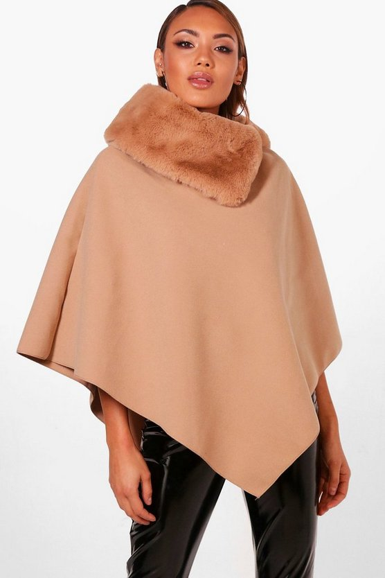 Faux Fur Collar Cape