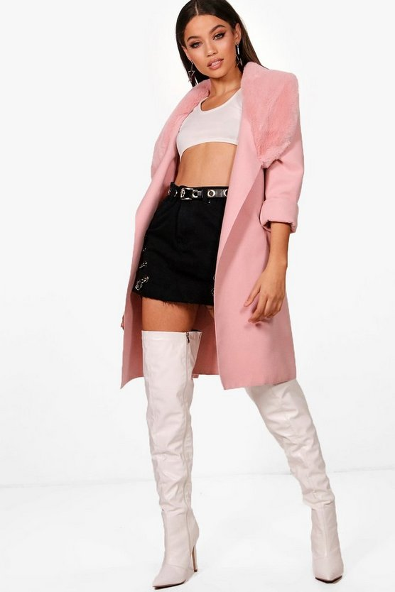June Faux Fur Collar Coat