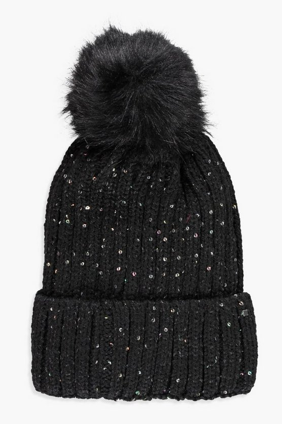 Amy Sequin Detail Fleece Lined Pom Beanie