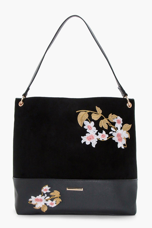 Embroidery Hobo Bag - black - Bella Embroidery Hob