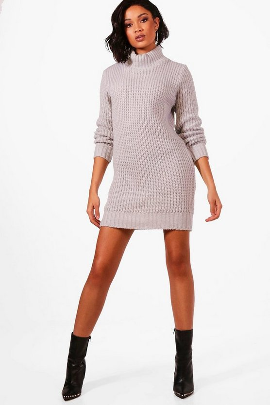 Turtle Neck Soft Knit Jumper Dress