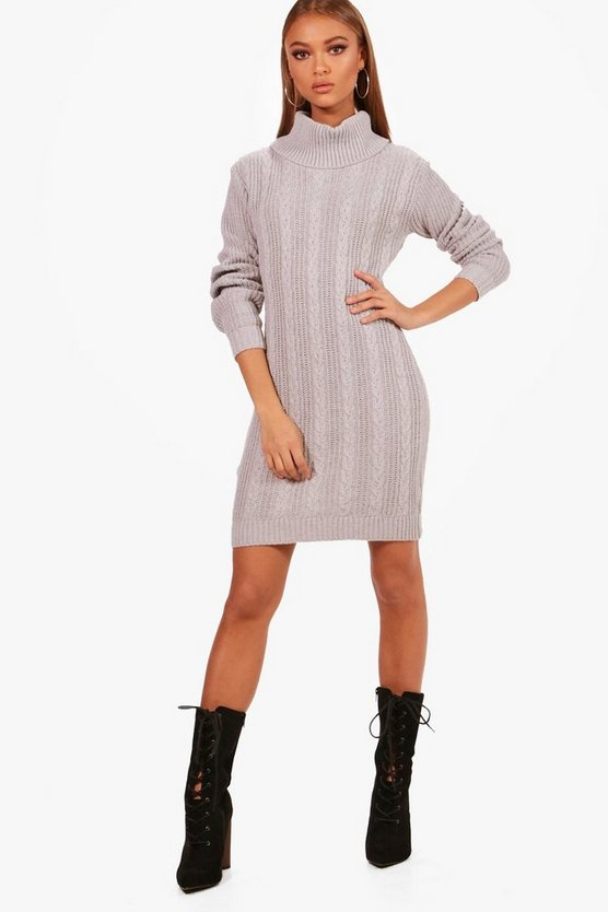 Roll Neck Cable Knitted Dress