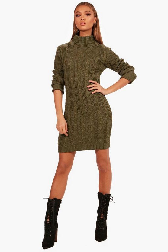 Maisy Roll Neck Cable Knitted Dress