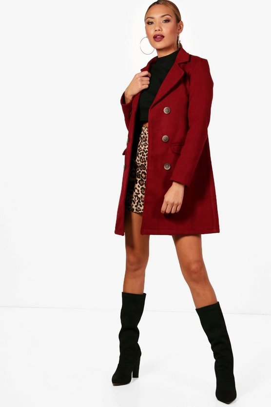 Emily Double Breasted Wool Look Coat