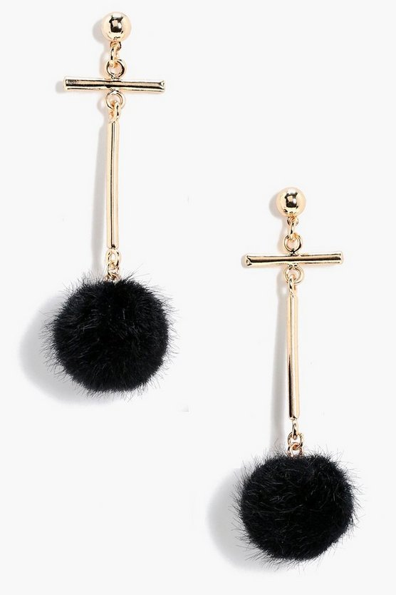 Ella Faux Fur Pom Cross Bar Earrings