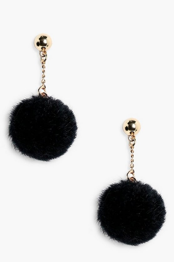 Ellie Ball Stud Faux Fur Pom Earrings