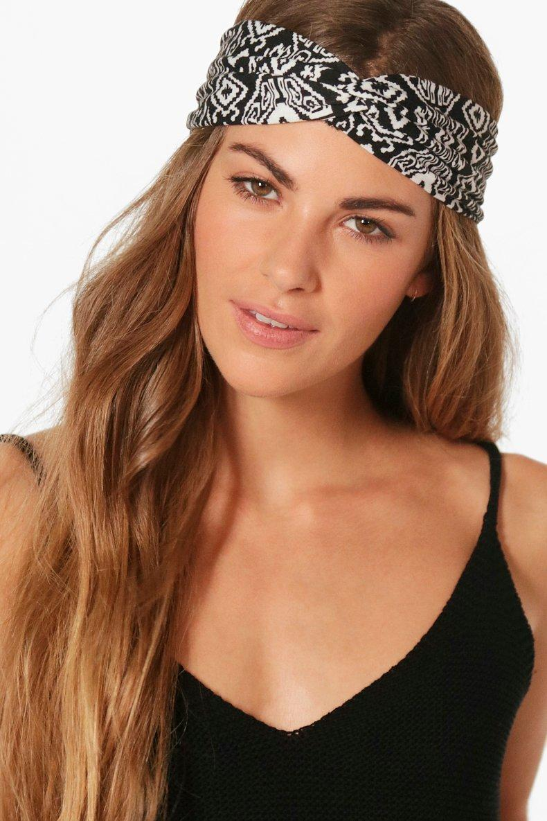 Aztec Print Turban Headband - grey - Ivy Aztec Pri