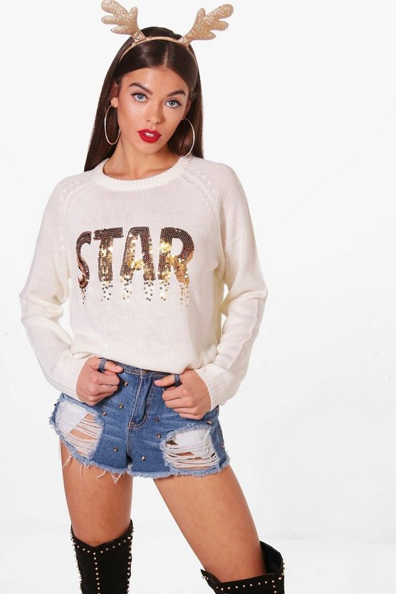 Christmas Star Sequin Knitted Jumper