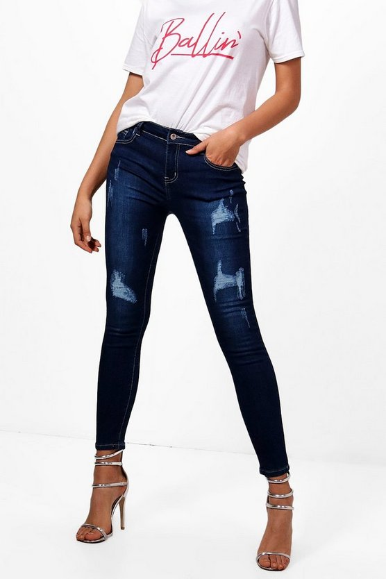 Maisy Mid Rise Distressed Skinny Jeans