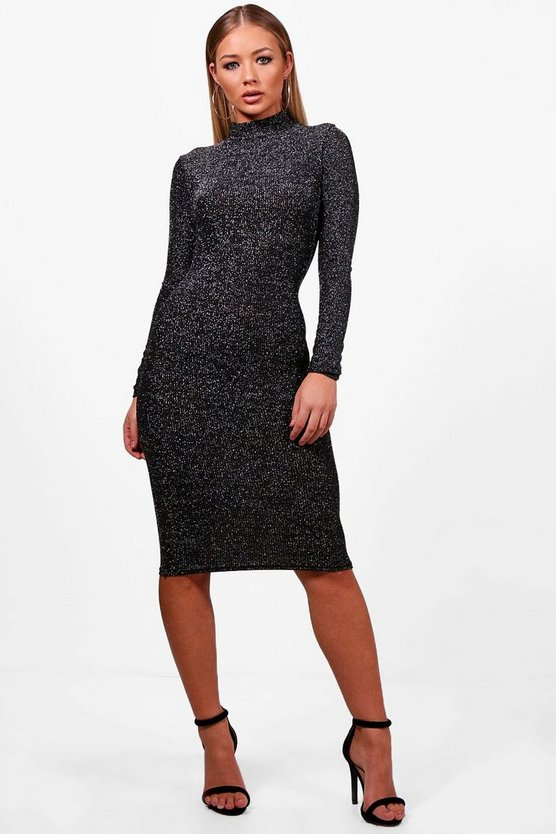AlIcia Long Sleeve Sparkle Bodycon Dress
