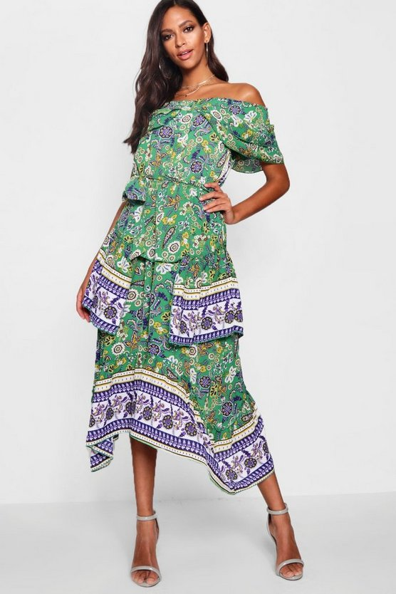 Alivia Layered Border Print Maxi Dress