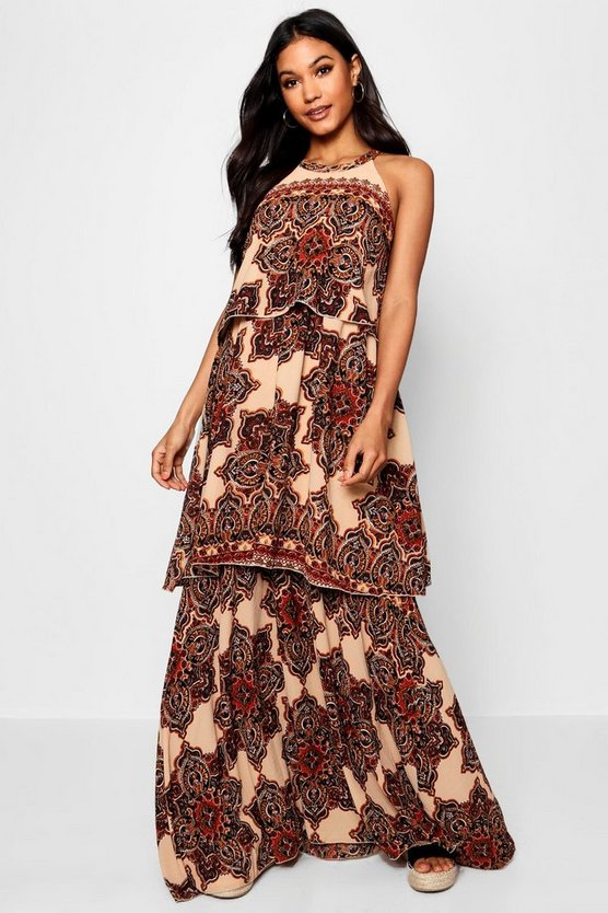 Lace Up Back Bohemian Print Maxi Dress