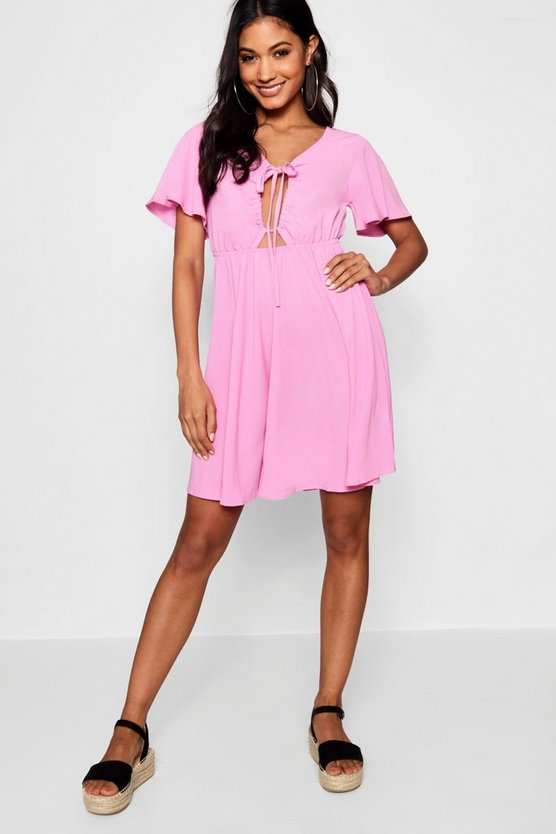 Ruched Cut Work Front Tea Dress