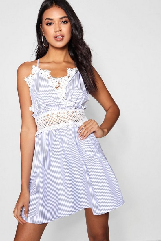 Reya Crochet Insert Striped Smock Dress