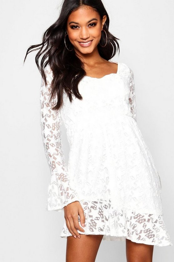 Bustier Asymmetric Star Lace Tea Dress