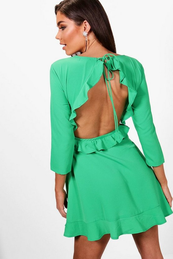 Emily Open Back Ruffle Tea Dress