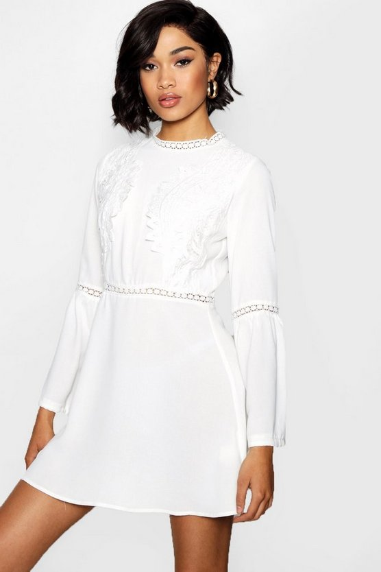 Lace Insert Bohemian Skater Dress