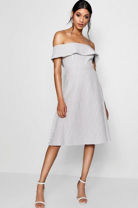 Off The Shoulder Woven Stripe Skater Dress