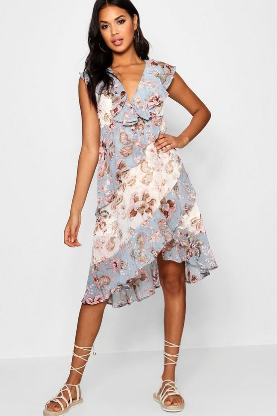 Eleanor Asymmetric Ruffle Floral Midi Dress