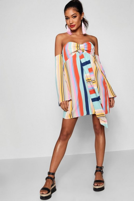 Tie Neck Multi Stripe Shift Dress