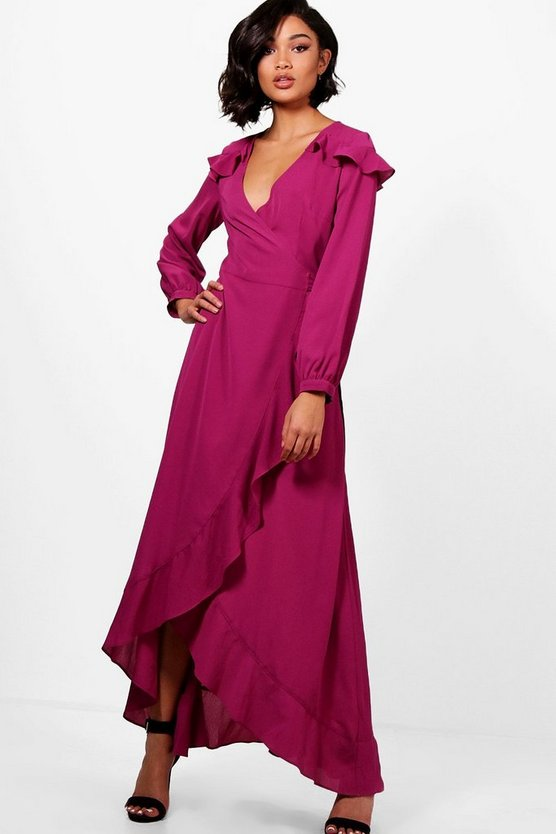 Lucy Ruffle Shoulder Wrap Maxi Dress
