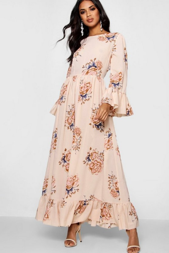 Iris Ruffle Hem Flared Sleeve Maxi Dress