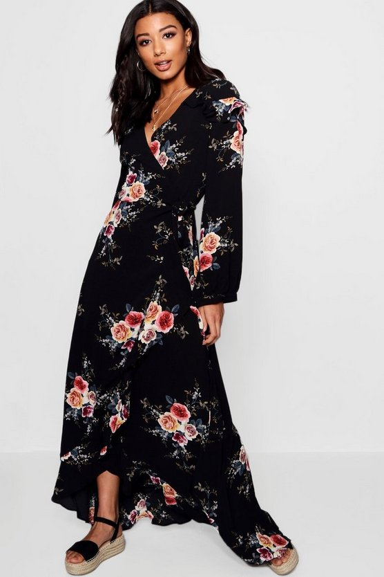 Ruffle Shoulder Wrap Front Maxi Dress
