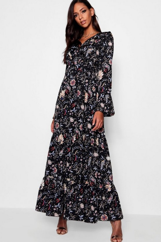 Marline Ruffle Front Tiered Maxi Dress