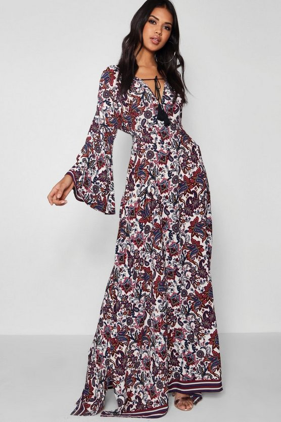 Rosie Flute Sleeve Tassel Trim Maxi Dress