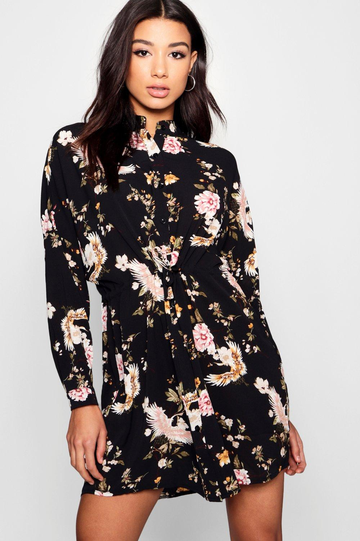 Купить Платья, Платье-рубашка из ткани с цветочным рисунком и поясом на талии, boohoo