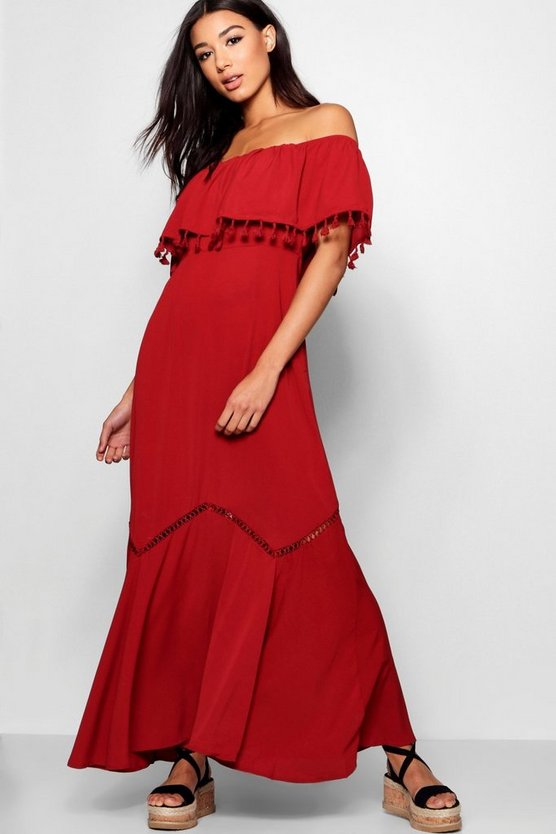 Trixy Off The Shoulder Tassel Trim Maxi Dress