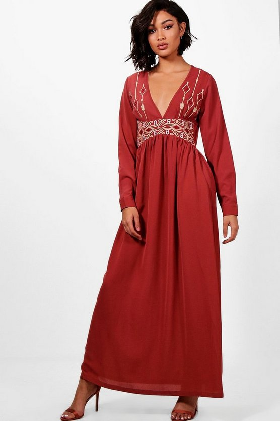 Di Embroidered Plunge Front Woven Maxi Dress