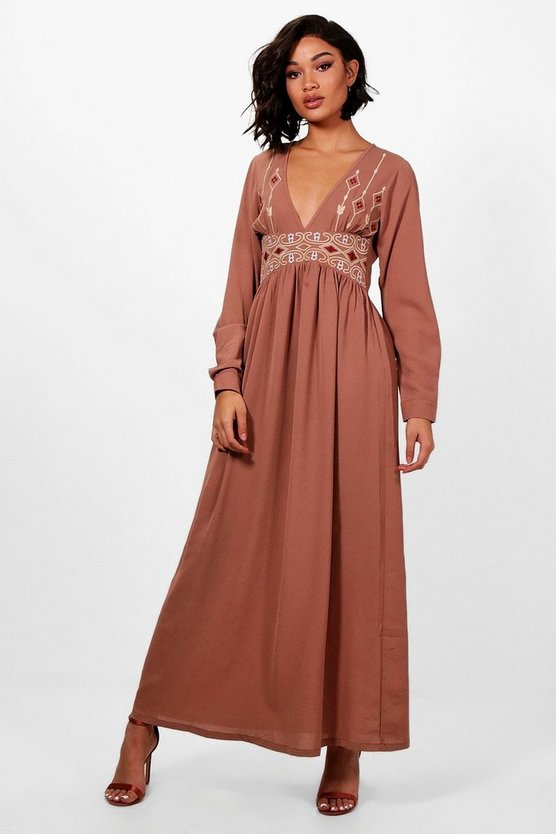 Embroidered Plunge Front Woven Maxi Dress
