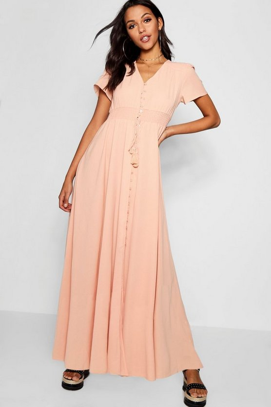 Shired Waist Button Front Maxi Dress