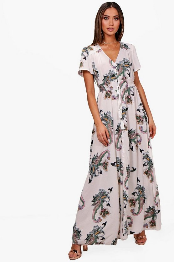 Paisley Print Shirred Waist Maxi Dress