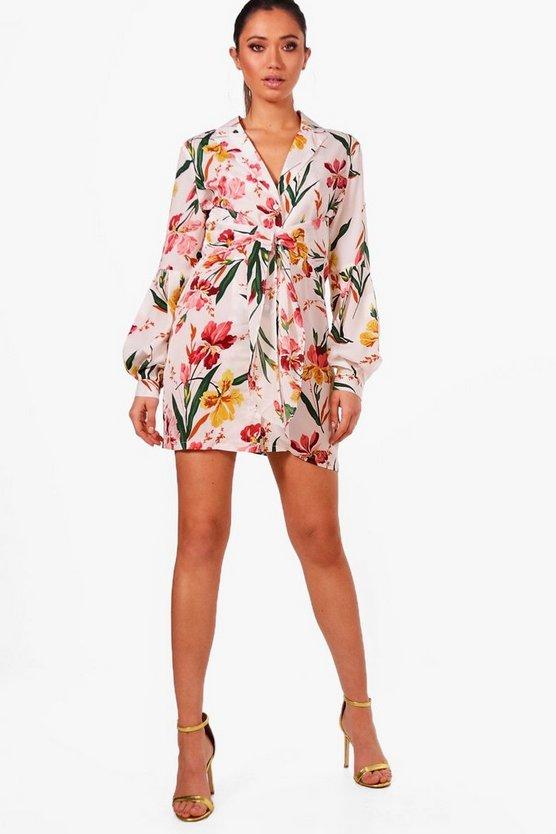 Tie Front Tropical Floral Shirt Dress