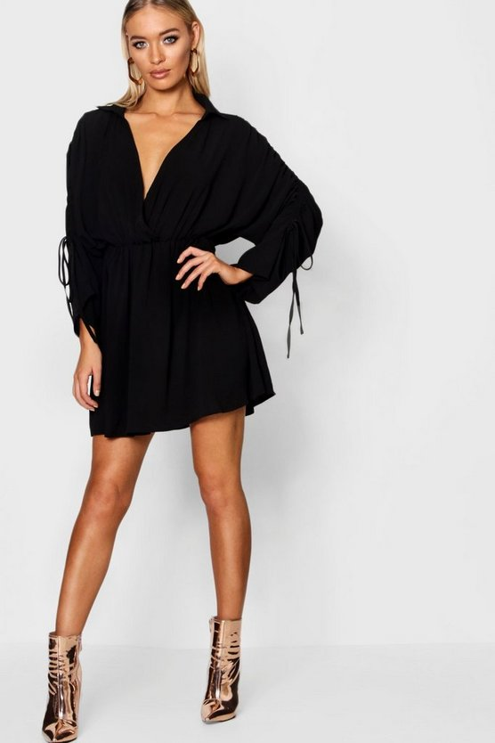 Bea Ruched Sleeve Wrap Front Shift Dress