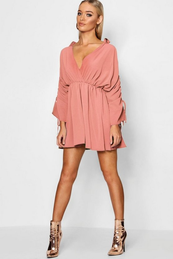 Ruched Sleeve Wrap Front Shift Dress
