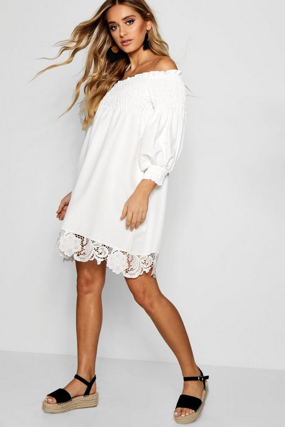 Shirred Crochet Hem Shift Dress