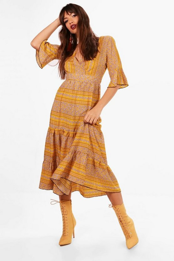 Lexi Wrap Front Tierred Bohemian Midi Dress