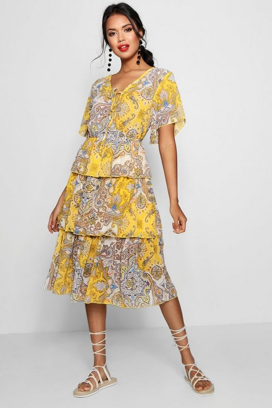 Layered Paisley Print Midi Dress