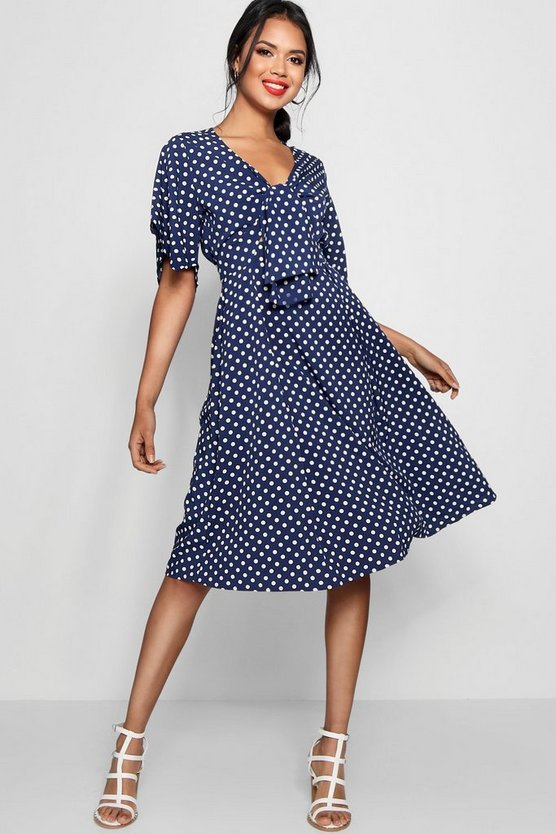 Polly Knot Front Polka Dot Midi Dress