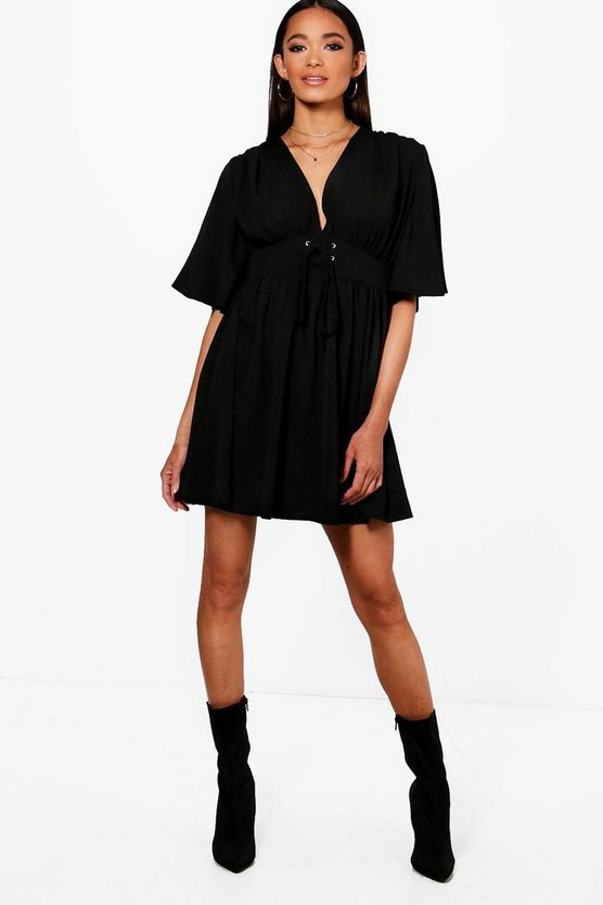 Jenny Lace Up front Angel Sleeve Skater Dress