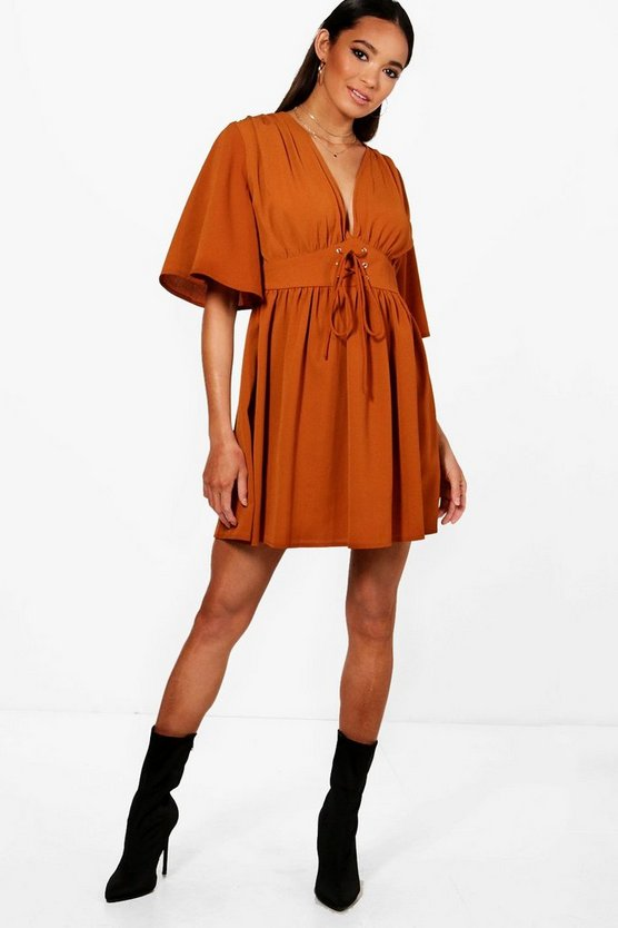 Lace Up front Angel Sleeve Skater Dress