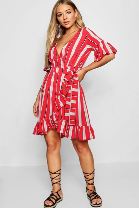 Izzy Striped Ruffle Detail Wrapped Tea Dress