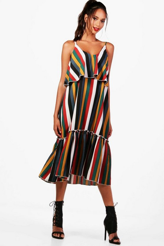 Bold Stripe Ruffle Hem Smock Dress